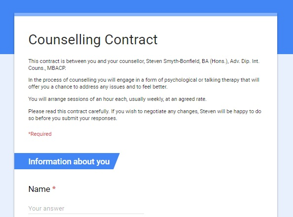 counselling contract If i'm getting the gist of your question, a contract is an agreement about the counseling relationship, it's cost, what it lioks like and what it doesn't, stated specifically it might state that the counselor won't have any kind of non-counseling relationship with you.